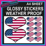 LOVE USA HEART FLAG GRAPHICS CAR BUMPER WEATHER PROOF STICKERS MIXED SIZES